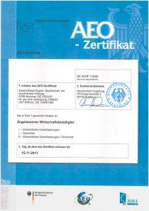 DE AEOF 112089 · AEO Zertifikat
