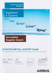 ACCREDITED SUPPLIER AWARD · by Airbus